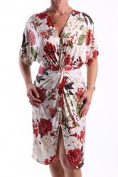 Dámske šaty elastické vzorované - červeno-biele