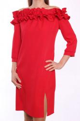 Dámske šaty s fodričkami MALLY - červené D3