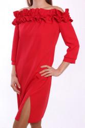 Dámske šaty s fodričkami MALLY - červené D3 #1