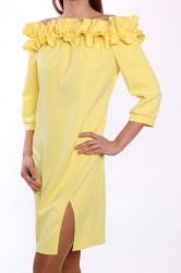 Dámske šaty s fodričkami MALLY - žlté D3 #1