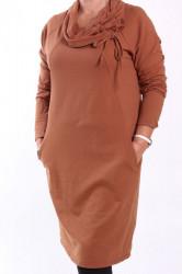 Dámske šaty s vreckami - hnedé