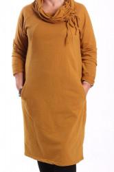 Dámske šaty s vreckami - okrové