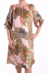 Dámske šaty vzorované - oranžovo-zelené D3