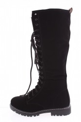 Dámske semišové čižmy ( NC 132) čierne (37cm+3cm)
