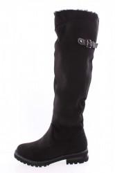 Dámske semišové čižmy (QCO2P) - čierne (45 cm, 3,5 cm)