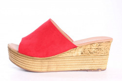 Dámske šľapky na platforme LEMON FREE (692-2) - červené (v. 6,5 cm)