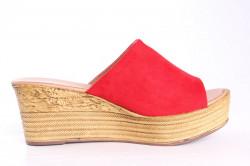 Dámske šľapky na platforme LEMON FREE (692-2) - červené (v. 6,5 cm) #1