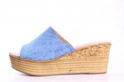 Dámske šľapky na platforme LEMON FREE (692-3) - modré (v. 6,5 cm)