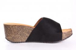 Dámske šľapky na platforme SMALL SWAN (YQ18) - čierne (v. 6 cm) #1