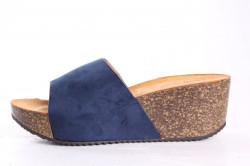 Dámske šľapky na platforme SMALL SWAN (YQ18) - modré (v. 6 cm)