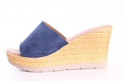 Dámske šľapky na platforme WOMAN SHOES (E9107-2) - modré (v. 8 cm)