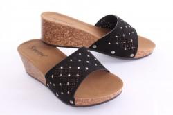Dámske šľapky s kamienkami (G-160) - čierne (v. 5 cm) #1