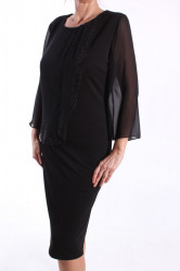 Dámske spoločenské elastické šaty (č. 37152) - čierne D3 #1
