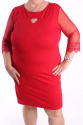 Dámske spoločenské elastické šaty (č. 38418) - červené D3