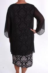 Dámske spoločenské elastické šaty so silonom a štrasom - čierno-biele #1