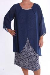 Dámske spoločenské elastické šaty so silonom a štrasom - modro-biele