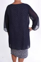 Dámske spoločenské elastické šaty so silonom a štrasom - tmavomodro-biele #1