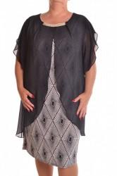 Dámske spoločenské elastické šaty so silonom  - čierne