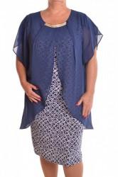 Dámske spoločenské elastické šaty so silonom  - modré