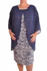 Dámske spoločenské elastické šaty so silonom VZOR 2 - tmavomodré