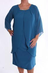 Dámske spoločenské elastické šaty so silonom VZOR 4. - tyrkysové