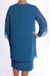 Dámske spoločenské elastické šaty so silonom VZOR 4. - tyrkysové #1