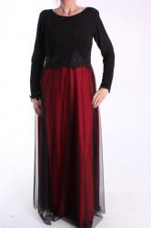 Dámske spoločenské šaty (č. 38073) - červeno-čierne D3
