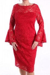 Dámske spoločenské šaty čipkované (č. 38428) - červené D3