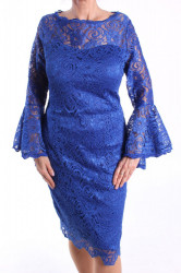 Dámske spoločenské šaty čipkované (č. 38429) - kráľovské modré D3