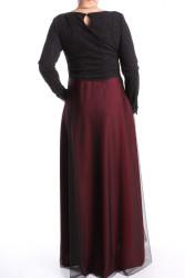 Dámske spoločenské šaty dlhé (č. 38073) - bordovo-čierne D3 #1