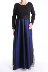 Dámske spoločenské šaty dlhé (č. 38073) - tmavomodro-čierne D3
