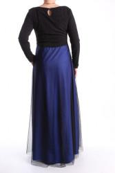 Dámske spoločenské šaty dlhé (č. 38073) - tmavomodro-čierne D3 #1