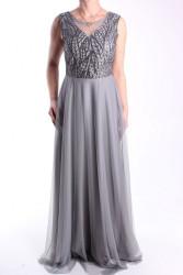 Dámske spoločenské šaty dlhé (č. 38404) - sivé D3