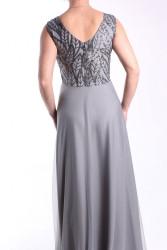Dámske spoločenské šaty dlhé (č. 38404) - sivé D3 #1