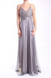 Dámske spoločenské šaty dlhé (č. 38406) - strieborno-sivé D3