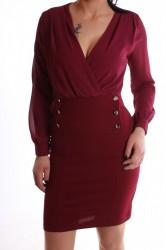 Dámske spoločenské šaty s gombíkmi - bordové D3 29810d952f2