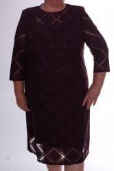 Dámske spoločenské šaty s kockami - baklažánové D3