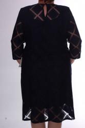 Dámske spoločenské šaty s kockami - tmavomodré D3 #1