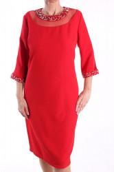 Dámske spoločenské šaty s korálkami - červené D3