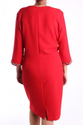 Dámske spoločenské šaty s korálkami - červené D3 #1