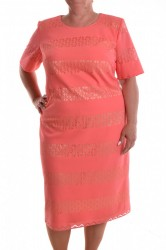 a0f83ac28eaf Dámske spoločenské šaty s krajkovým vzorom - lososové