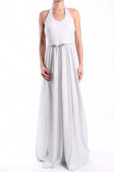 Dámske spoločenské šaty s opaskom dlhé (č. 37183) - strieborno-biele D3