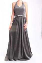 Dámske spoločenské šaty s opaskom dlhé (č. 37183) - strieborno-čierne D3