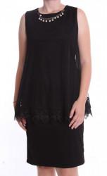 Dámske spoločenské šaty s retiazkovou ozdobou (38211) - čierne D3