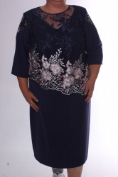 Dámske spoločenské šaty s vyšívaným tylom - tmavomodré d7b76e0ef1c