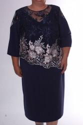 Dámske spoločenské šaty s vyšívaným tylom - tmavomodré D3 #1