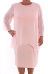 Dámske spoločenské šaty so silonom (37087) - bledoružové D3