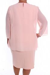 Dámske spoločenské šaty so silonom (37087) - bledoružové D3 #1