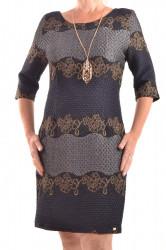 Dámske spoločenské šaty so zlatým vzorom - tmavomodro-sivé D3