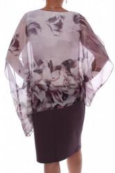 Dámske spoločesnké elastické šaty so silonovým vrchom - fialovo-biele D3 #1